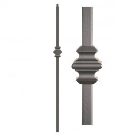 "HFAG16.5.9-T: Versatile Series 1 3/16"" Hollow Square Iron Knuckle Newel (Ash Grey)"