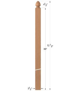 "LJ-4006: 3 1/2"" Spade Top Intersection Newel Post Dimensions"