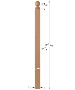 "LJ-4006COL: 3 1/2"" Colonial Ball Top Intersection Newel Post Dimensions"