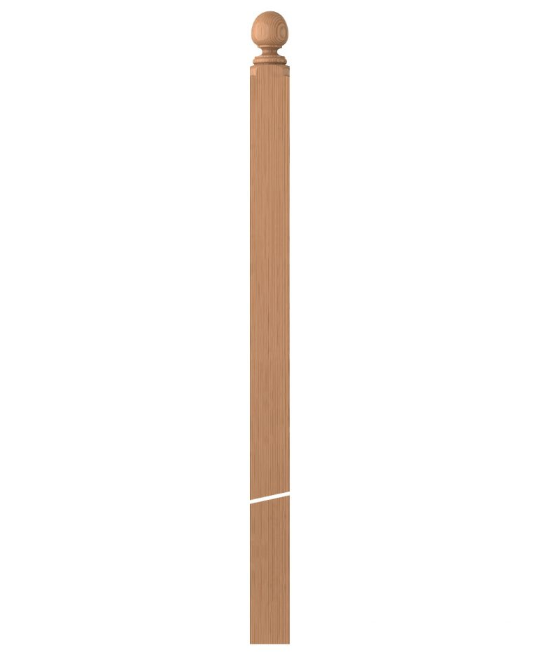 "LJ-4006COL: 3 1/2"" Colonial Ball Top Intersection Newel Post"