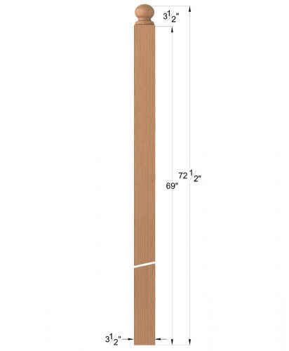 """LJ-4006RT: 3 1/2"""" Ball Top Intersection Newel Post Dimensions"""