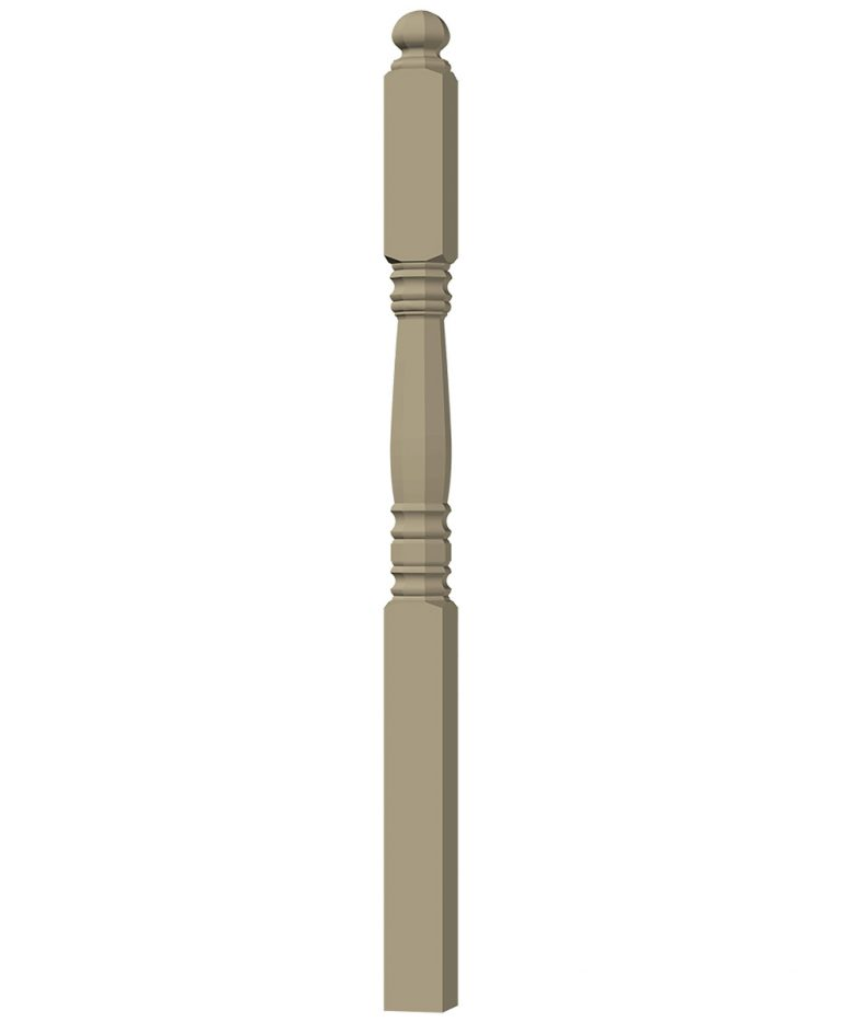 "LJ-45038: 3 1/2"" Octagonal Transition Newel Post 3D CAD Rendering"