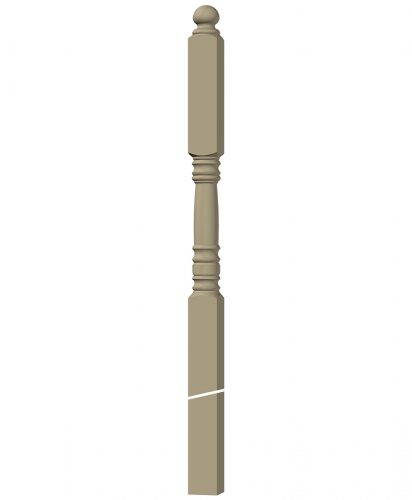 "LJ-4505: 3 1/2"" Intersection Newel Post 3D CAD Rendering"