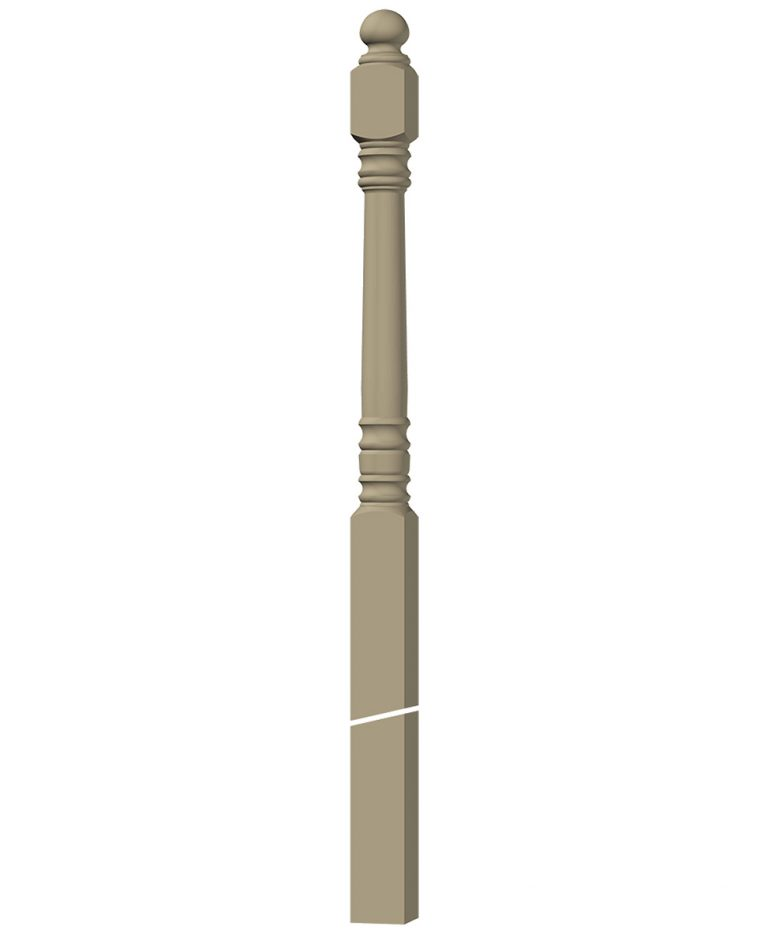 "LJ-4558: 3 1/2"" Winder Newel Post 3D CAD Rendering"