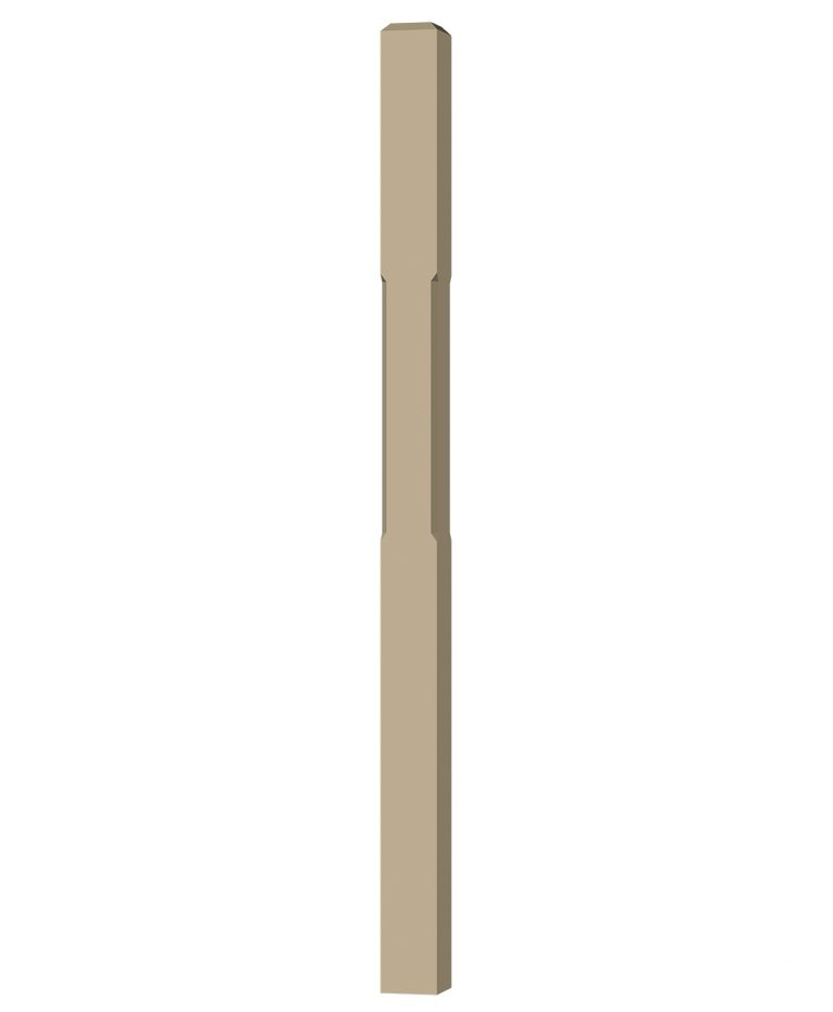 "LJC-4001: 3 1/2"" Chamfered Universal Newel Post (3D CAD Rendering)"