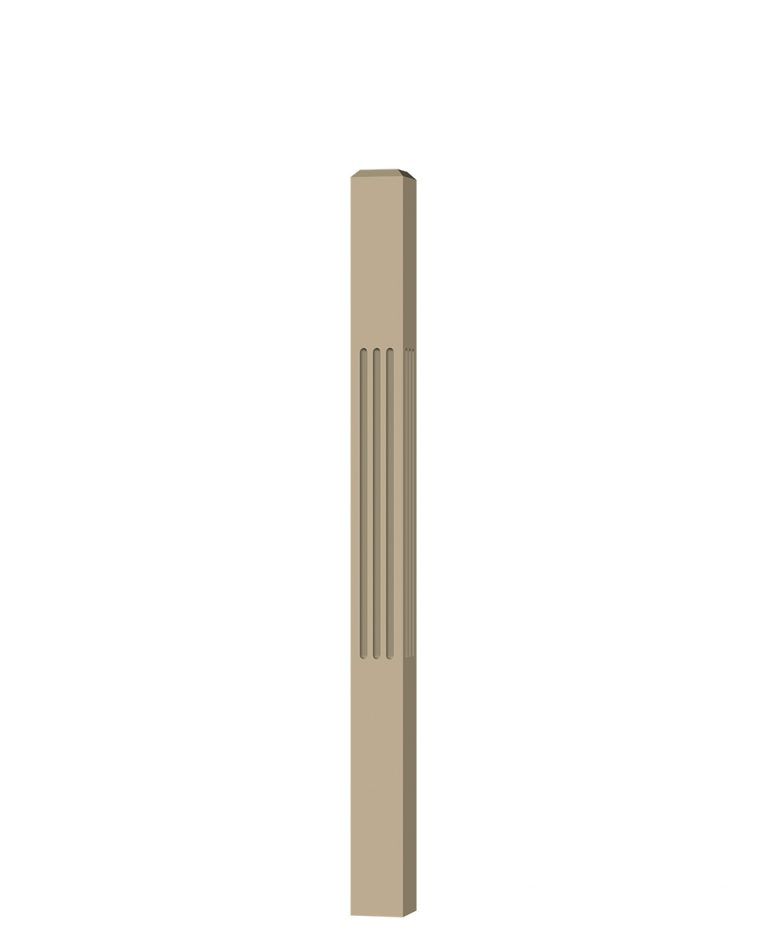 "LJF-4000: 3 1/2"" Fluted Universal Newel Post (3D CAD Rendering)"