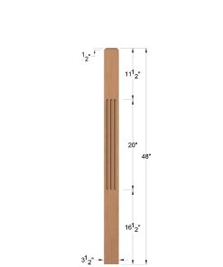 "LJF-4000: 3 1/2"" Fluted Universal Newel Post Dimensions"