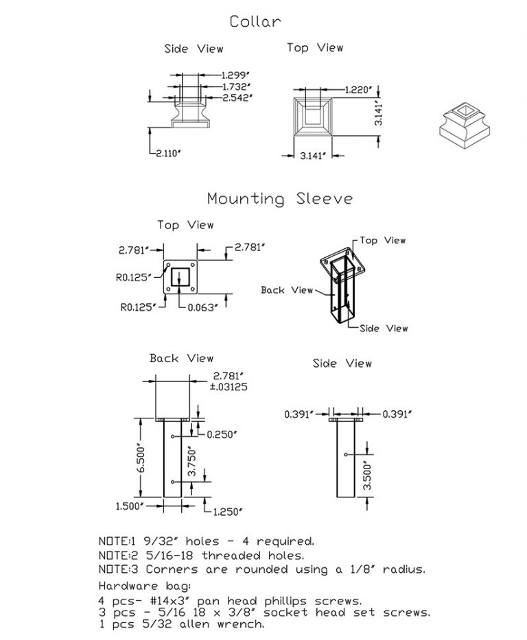LI-NWLFSH: Mounting Kit for Square Iron Newel CAD Drawing