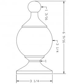 LJ-9002: Box Newel Post Chablis Finial - CAD Drawing