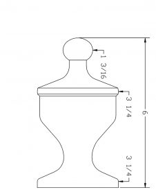 LJ-9004: Box Newel Post Champagne Finial - CAD Drawing