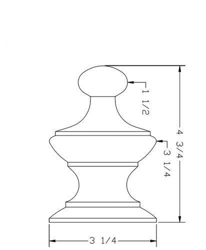 LJ-9006: Box Newel Post Alladin Finial - CAD Drawing
