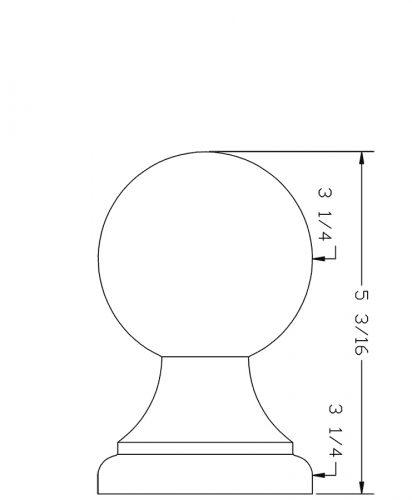 LJ-9007: Box Newel Post Ball Top Finial - CAD Drawing