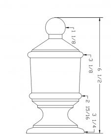 LJ-9009: Box Newel Post Lighthouse Finial - CAD Drawing
