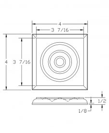 LJ-9100: Box Newel Post Square Rosette Block - CAD Drawing