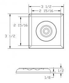 LJ-9101: Box Newel Post Square Rosette Block - CAD Drawing