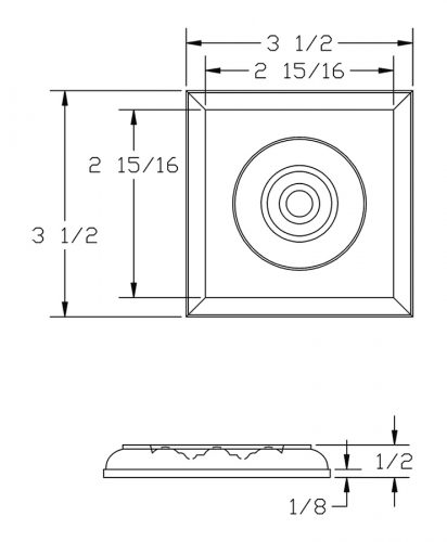 LJ-9101: Box Newel Post Square Rosette Block - CAD Drawing