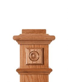 LJ-9101: Box Newel Post Square Rosette Block