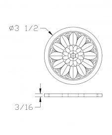 LJ-9102: Box Newel Post Embossed Flower Carving - CAD Drawing