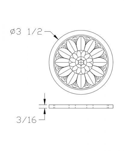 LJ-9102: Box Newel Post Embossed Flower Carving - CAD Drawing