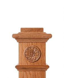 LJ-9102: Box Newel Post Embossed Flower Carving