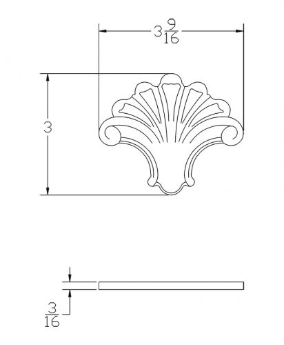 LJ-9103: Box Newel Post Embossed Fan Carving - CAD Drawing