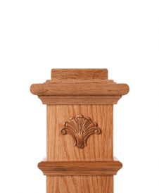 LJ-9103: Box Newel Post Embossed Fan Carving