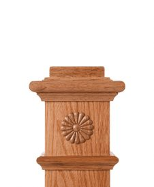 LJ-9104: Box Newel Post Embossed Gingerbread Carving