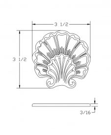 LJ-9105: Box Newel Post Embossed Shell Carving - CAD Drawing