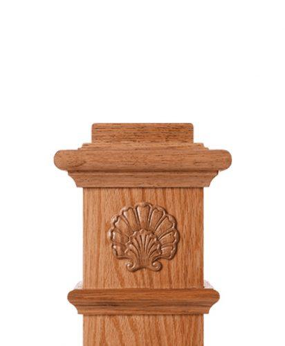 LJ-9105: Box Newel Post Embossed Shell Carving
