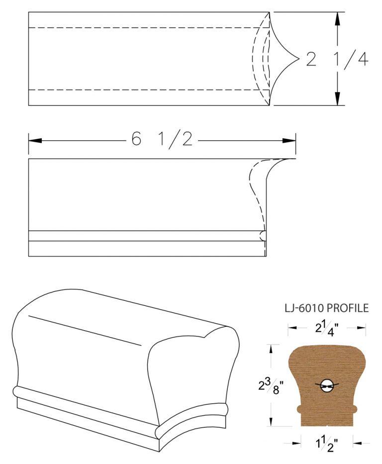LJ-7008: Coped End for LJ-6010 Handrail CAD Drawing