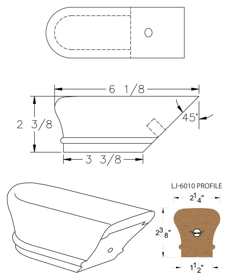 LJ-7009: Conect-A-Kit Returned End for LJ-6010 Handrail CAD Drawing