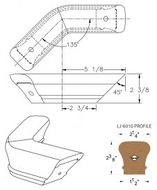 LJ-7011-135: Conect-A-Kit 135° Level Turn for LJ-6010 Handrail CAD Drawing
