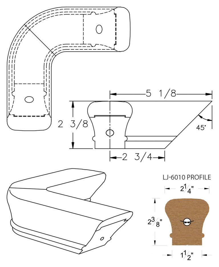 LJ-7011: Conect-A-Kit 90° Level Quarterturn for LJ-6010 Handrail CAD Drawing