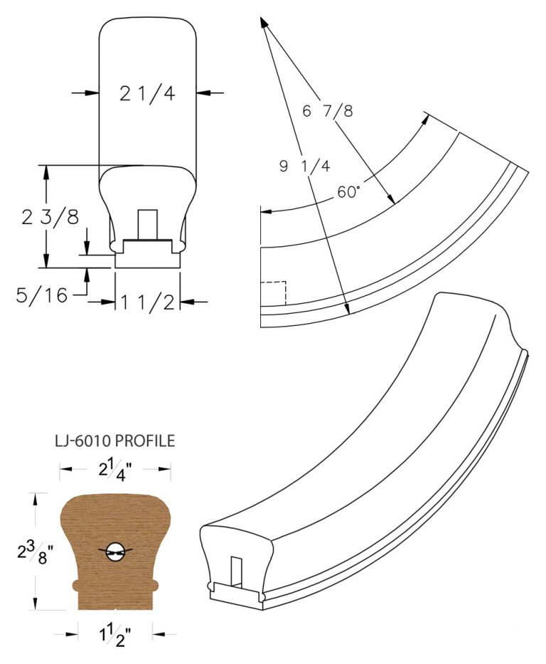 LJ-7012SB: Conect-A-Kit 60° Upeasing for LJ-6010 Handrail CAD Drawing