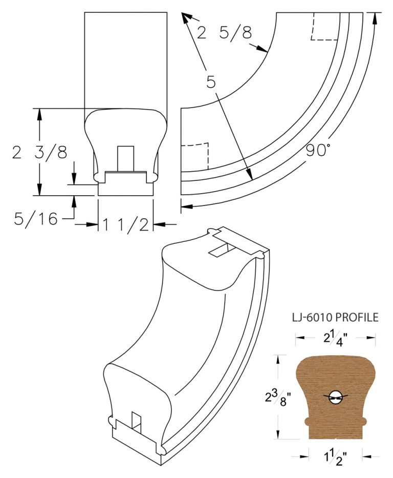 LJ-7014SB: Conect-A-Kit 90° Upeasing for LJ-6010 Handrail CAD Drawing