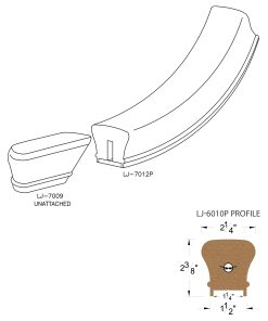 """LJ-7015P: Conect-A-Kit Starting Easing for LJ-6010P - 1 1/4"""" Plowed Handrail CAD Drawing"""