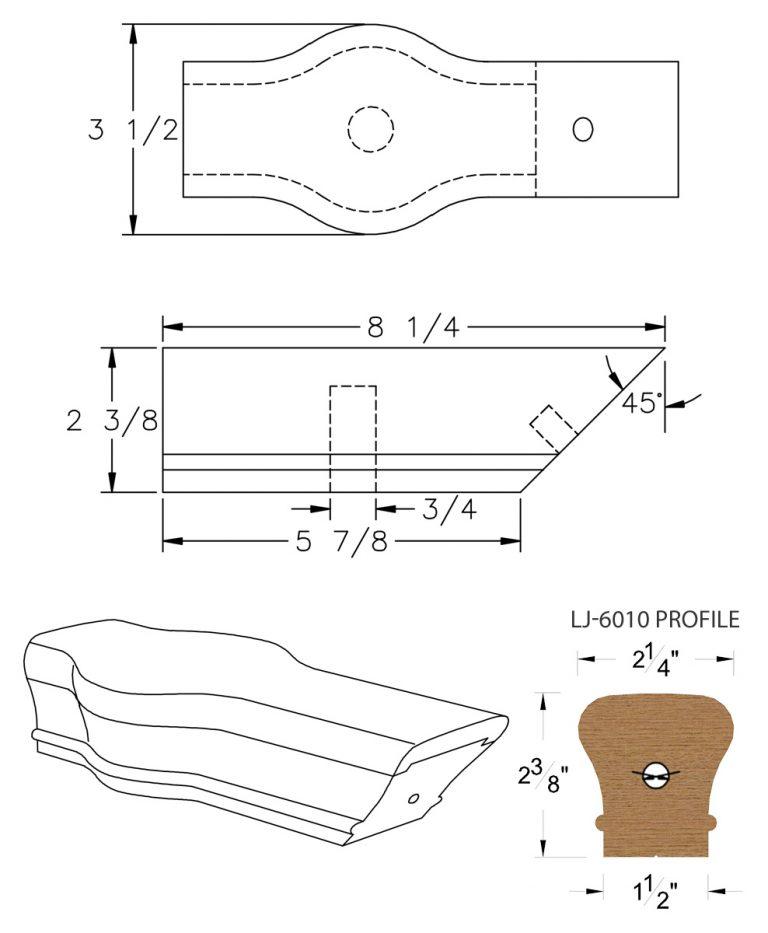 LJ-7020: Conect-A-Kit Tandem Cap for LJ-6010 Handrail CAD Drawing
