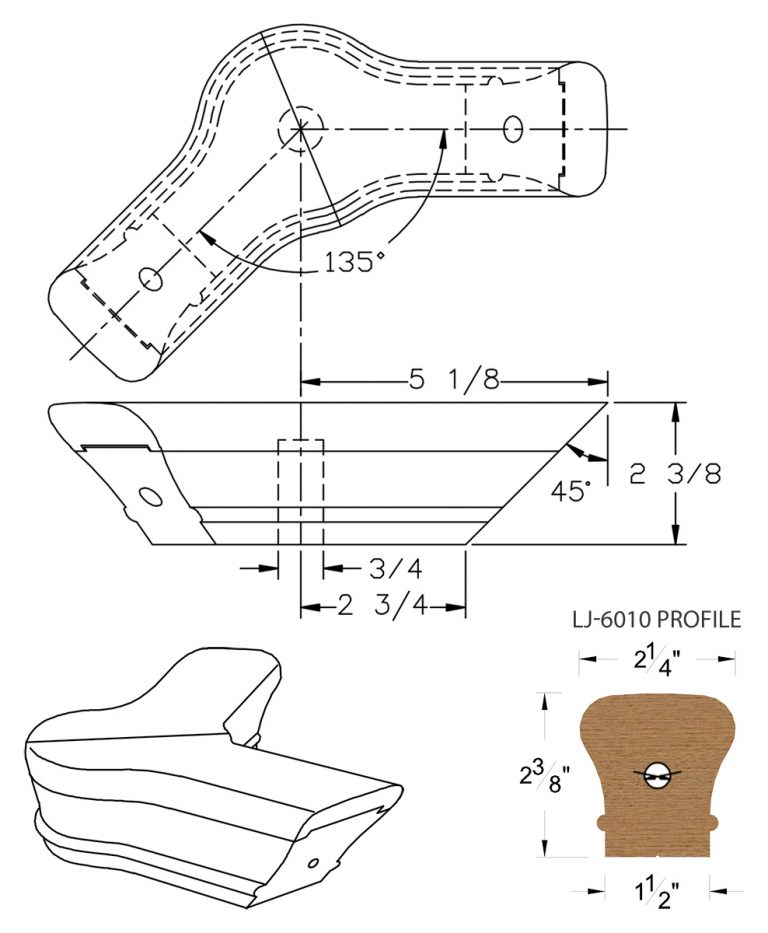 LJ-7021-135: Conect-A-Kit 135° Level Turn with Cap for LJ-6010 Handrail CAD Drawing