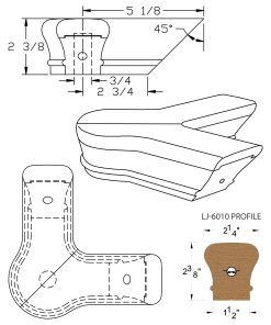 LJ-7021: Conect-A-Kit 90° Level Quarterturn with Cap for LJ-6010 Handrail CAD Drawing