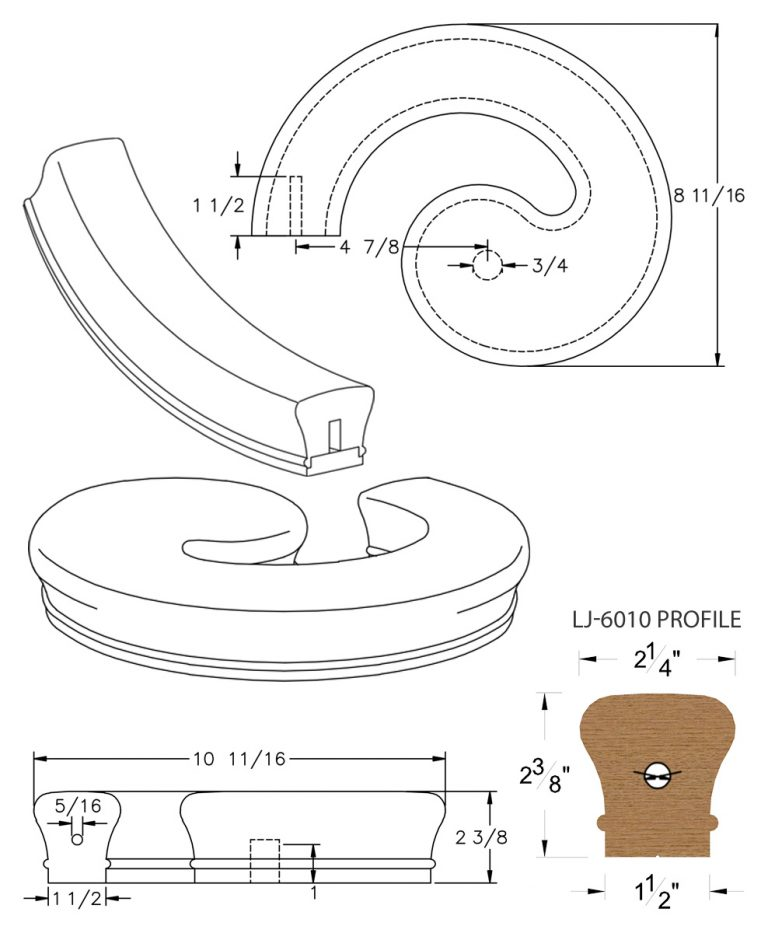 LJ-7030SB: Conect-A-Kit Left Hand Volute for LJ-6010 Handrail CAD Drawing