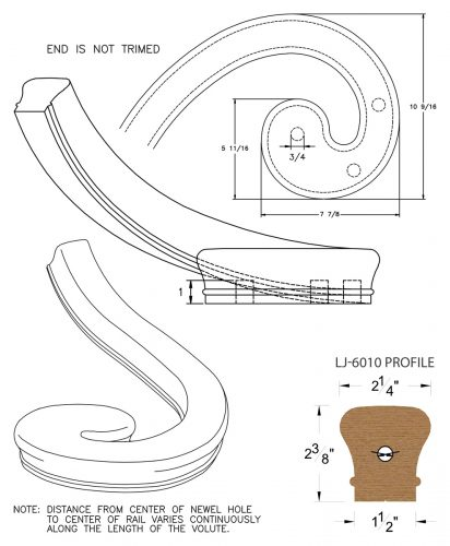 LJ-7031: Left Hand Climbing Volute for LJ-6010 Handrail CAD Drawing