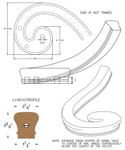 LJ-7036: Right Hand Climbing Volute for LJ-6010 Handrail CAD Drawing