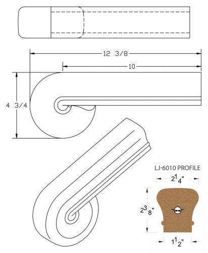 LJ-7038: Vertical Volute for LJ-6010 Handrail CAD Drawing