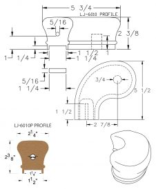 "LJ-7041P: Conect-A-Kit 3"" Left Hand Turnout for LJ-6010P - 1 1/4"" Plowed Handrail CAD Drawing"