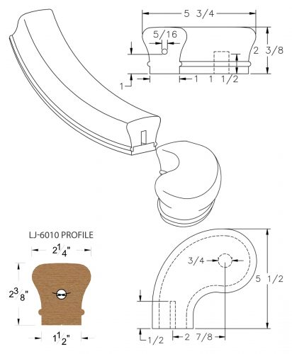 """LJ-7041SB: Conect-A-Kit 3"""" Left Hand Turnout for LJ-6010 Handrail CAD Drawing"""