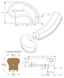 """LJ-7045P: Conect-A-Kit 5"""" Right Hand Turnout for LJ-6010P - 1 1/4"""" Plowed Handrail CAD Drawing"""