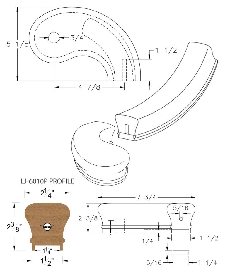 "LJ-7045P: Conect-A-Kit 5"" Right Hand Turnout for LJ-6010P - 1 1/4"" Plowed Handrail CAD Drawing"