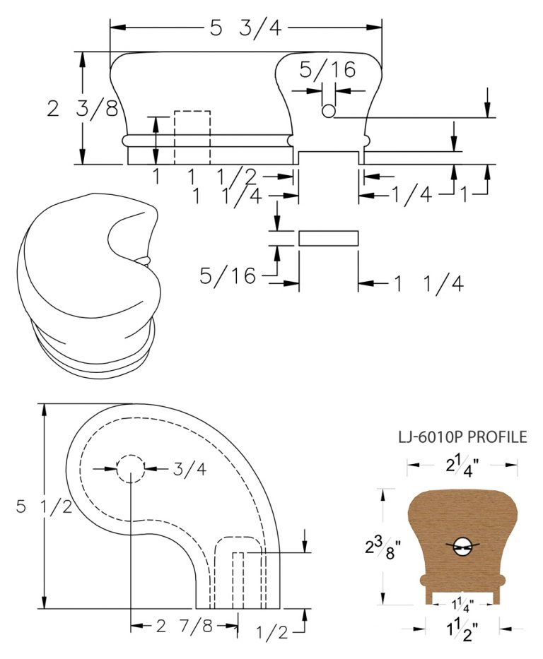 """LJ-7046P: Conect-A-Kit 3"""" Right Hand Turnout for LJ-6010P - 1 1/4"""" Plowed Handrail CAD Drawing"""