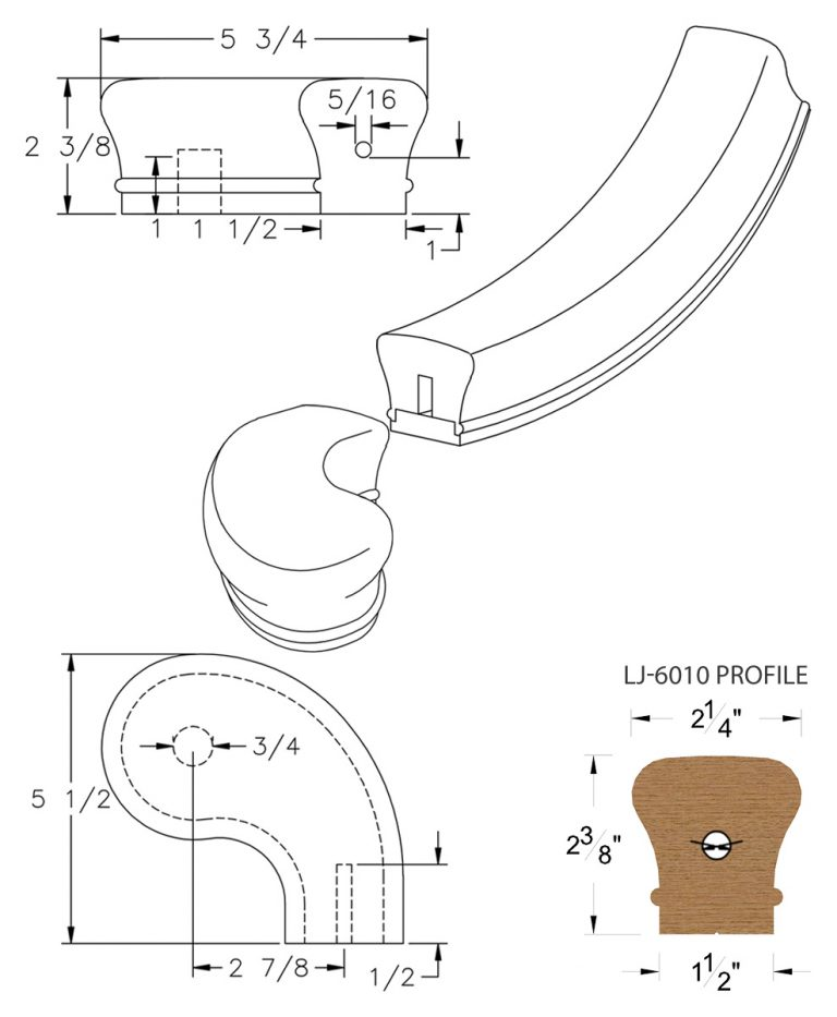 """LJ-7046SB: Conect-A-Kit 3"""" Right Hand Turnout for LJ-6010 Handrail CAD Drawing"""