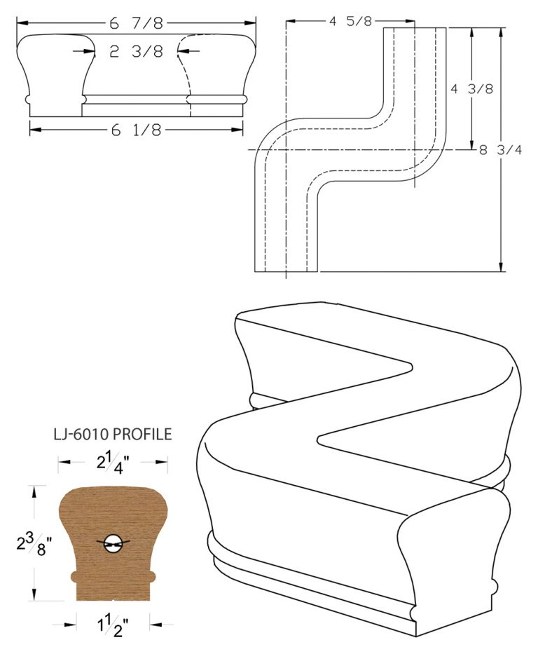 LJ-7047: Conect-A-Kit Left Hand S Fitting / Offset for LJ-6010 Handrail CAD Drawing